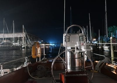 nightime in a slip aboard a Hinckley sailboat