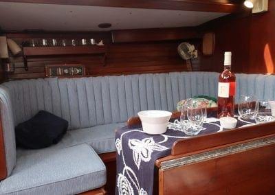 main cabin buffet of Gypsy Lady a Hinckley Sailboat from Biloxi