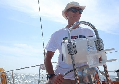 taking the helm of a Hinckley Sailboat from Biloxi